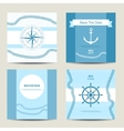 Set of four nautical invitation card template vector image
