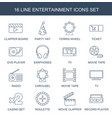 16 entertainment icons vector image vector image