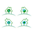 a set of green environmental vector image