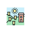 apiary hives on field flat color line icon vector image