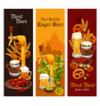 beer lager and ale alcohol drink banner design vector image vector image
