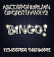 bingo silver glowing alphabet and numbers vector image vector image