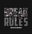 break rules - slogan typography with camouflage vector image