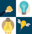 Business concept Hand and Light bulb with money vector image