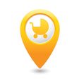 carriage icon on map pointer yellow vector image vector image