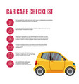 cars care checklist yellow car and line icons vector image vector image