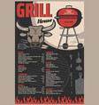 charcoal grill barbecue fork spatula and bbq vector image