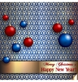 christmas greeting card with balls on pattern vector image