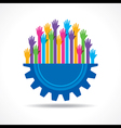 Colorful raised hand on the half gear symbol stock vector image vector image