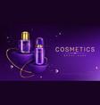 cosmetics bottles on podium mock up ad banner