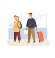 cute elderly couple tourists in airport vector image vector image