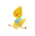cute little yellow duckling character sitting and vector image
