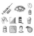 diabetes monochrome icons in set collection for vector image vector image