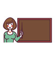 female teacher with pointer stands near blackboard vector image vector image