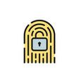 fingerprint with lock cryptocurrency digital key vector image vector image