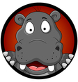 funny hippopotamus head cartoon vector image vector image