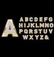 Golden diamond shiny letters isolated on black vector image