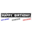 grunge happy birthday scratched rectangle stamps vector image vector image