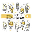 hand-drawn ice cream collection - set vector image