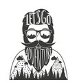 hand drawn style with bearded man in sun glasses vector image vector image