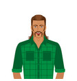 handsome man with mullet hairstyle vector image vector image