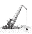 Huge crane barge Industrial ship that digs sand vector image