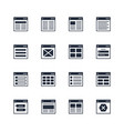 icons set flowchart navigation architecture vector image