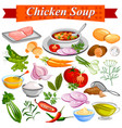 ingredient for indian chicken soup recipe vector image vector image