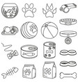 line art black and white 18 pet shop elements vector image vector image