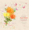 lovely bouquet of orange and yellow chrysanthemums vector image vector image