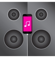 mobile phone icon on the background music speakers vector image vector image