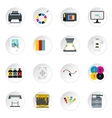 Printing icons set flat style vector image vector image