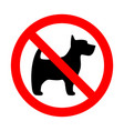 prohibition sign stop dog simple icon label vector image