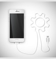 realistic smartphone with wire vector image vector image