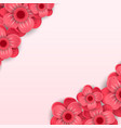 red paper cut flowers banner vector image