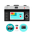 Retro film camera back with 4k - hd and dvd icons vector image