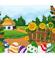 Rural landscape with house and painted Easter eggs vector image vector image