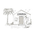 samoan boy stand by church cartoon