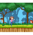 scene with kids playing in park vector image vector image