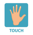 sense touch icon flat style hand isolated on vector image vector image