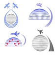 Set of Airplane Icons Summer Vacation vector image