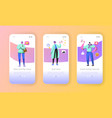 social marketing onboarding mobile app screens vector image vector image