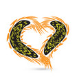 sunflower stylized heart design vector image vector image