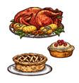 Thanksgiving day turkey pie dinner sketch food