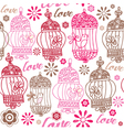 Vintage birds love background vector image vector image
