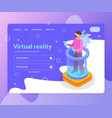 virtual reality landing page vector image vector image
