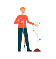 volunteer planting a tree in nature vector image vector image