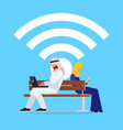wi-fi concept young muslim couple on the bench vector image vector image