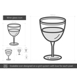 Wine glass line icon vector image vector image