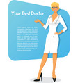 Woman doctor in white uniform vector image